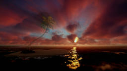 Beautiful sunrise over tropical island and ocean, godrays Animation