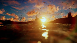 Beautiful sunrise with fishing boat, windmill and seagull flying Animation
