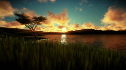 Beautiful sunset over green meadow and lake surrounded by mountains Animation