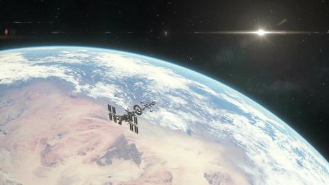 Spaceship Orbiting Earth Animation