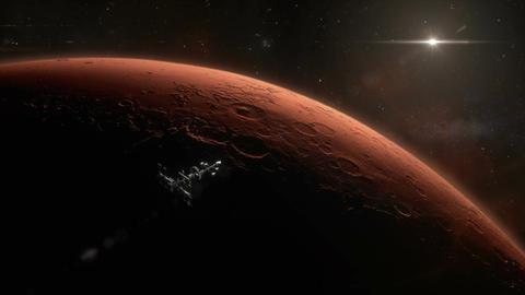 Spaceship Orbiting Mars Animation