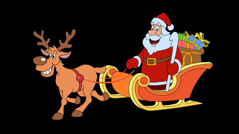 Reindeer and Christmas sleigh with Santa Claus on the side 29.97 fps Animation