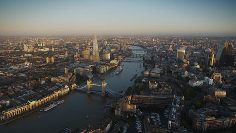 Modern Architecture of London Downtown By Sunset in Beautiful Aerial Drone Panorama Over River Live Action