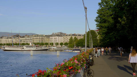 Beautiful Lake Geneva in the city of Geneva in Switzerland - GENEVA, SWITZERLAND Live Action