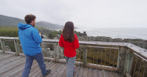 Punakaiki Pancake Rocks tourists couple travel Paparoa National Park New Zealand Live Action