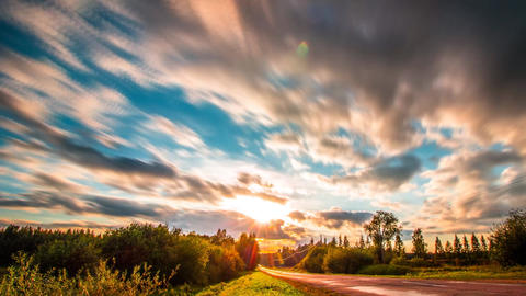 Beautiful Countryside Road at Sunset Clouds Moving in Blue sky Colorful Clouds Sky Exploring Live Action