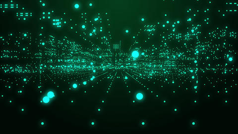 Digital technology background with green dot moving forward animation looped Animation