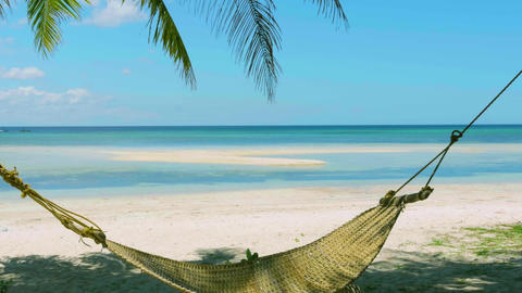 Hammock Under Shadow of Palm Trees Two Canoe Floating on the Horizon Live Action