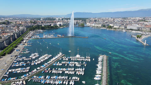 Aeial view over Lake Geneva in Switzerland Live Action
