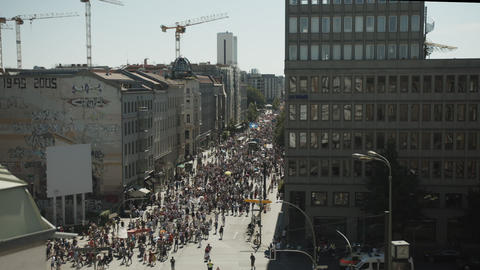 Aerial View of Anti Corona Demonstration March crowded streets in Berlin August Live Action