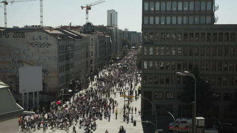 Aerial View Time Lapse of Anti Corona Demonstration in Berlin August 2020 Live Action