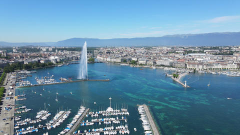Lake Geneva in Switzerland from above Live Action