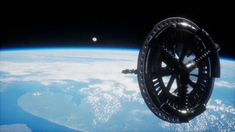futuristic Space satellite orbiting the earth Live Action