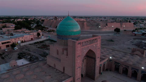 Ark of Bukhara fortress in the evening, drone aerial ライブ動画