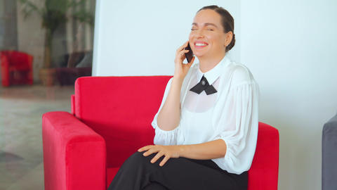 adult businesswoman has phone negotiations indoors Live Action