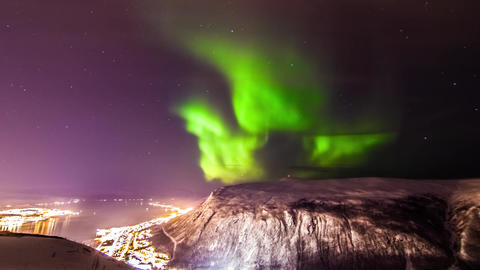 Timelapse Scenery of Aurora Borealis Above Tromso in Norway Live Action