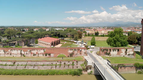 Aerial view of Pisa cityscape from Citadel Tower. Arno river and city homes Live Action