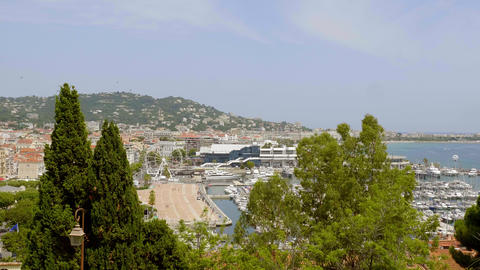 Aerial view over the city of Cannes at the French riviera Live Action