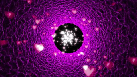 ピンクの波のチューブとハートパーティクル CG動画