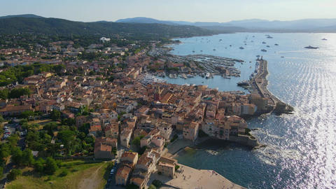 Amazing aerial view over Saint Tropez in France Live Action