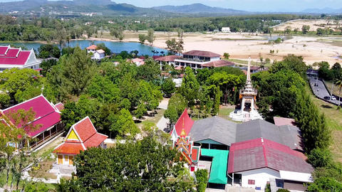 Aerial view of Choeng Thale Temple in Phuket, Thailand Live Action