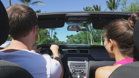Car couple driving on road trip travel vacation Live Action