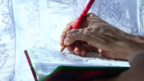 Close up of women hand writing on notepad Live Action