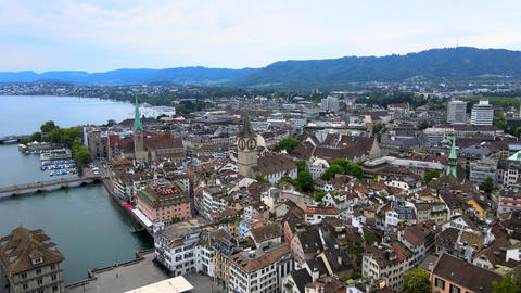 Flight over the city of Zurich in Switzerland Live Action