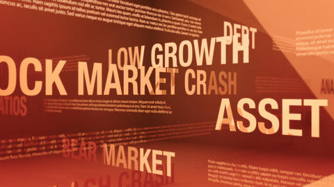 Stock Market Crash or Bear Market Related Terms Seamless Background Loop Animation