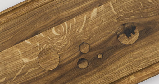 Close-up. Rotation of natural oak texture. Surface with wooden caps instead of Live Action