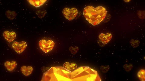 上昇する金色のハート CG動画