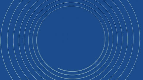 Metal spiral of silver rendering gradually on an azure blue background towards Animation