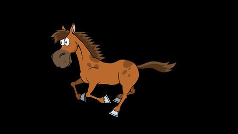 Brown Horse Cartoon Character Running Animation