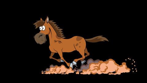 Mustang Horse Cartoon Character Running Animation