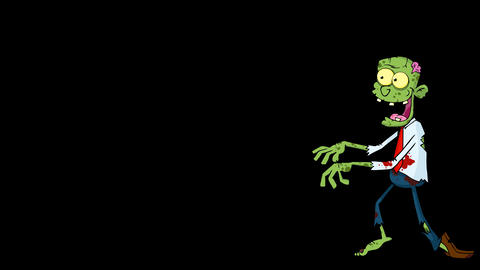 Zombie Cartoon Character Walking With Hands In Front Animation