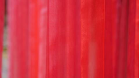 Red waving matter. Hot red decoration. Vivid red curtain blinds in room interior Live Action