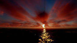 Beautiful timelapse sunrise over ocean, godrays, tilt Animation