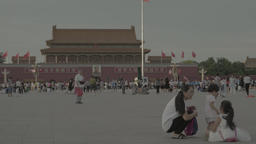 Tiananmen Square. Beijing. People in the town square Footage