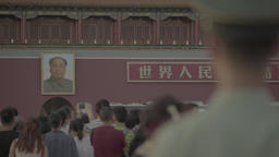 Beijing. China. The portrait of Mao Zedong on Tiananmen square Footage