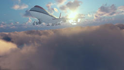 Boeing airplane above clouds at sunset Animation