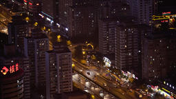 Beijing night. Urban landscape of the city from a height Footage