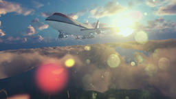 Boeing airplane above clouds at sunrise Animation