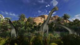 Brachiosaurus against blue sky, seamless loop Animation