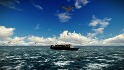 Cargo ship sailing, time lapse clouds and seagulls, camera fly, with sound Animation