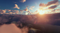 Cessna airplane above clouds at sunrise Animation