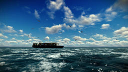 Cargo ship sailing, time lapse clouds and seagulls, with sound Animation