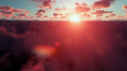Cessna airplane passing, above clouds at sunset Animation