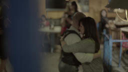 People dancing in the cafe in the evening Footage