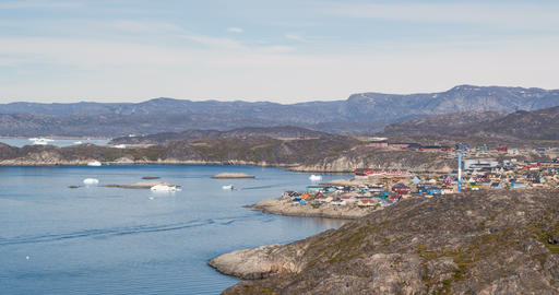 Greenland view of Ilulissat City and icefjord. Tourist destination in the actic Acción en vivo