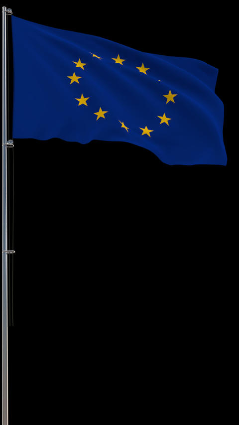 Flag of Europe on transparent, 3d rendering, footage with alpha, vertical video Animation